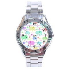 Elephant pastel pattern Stainless Steel Analogue Watch