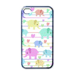Elephant pastel pattern Apple iPhone 4 Case (Black)