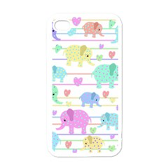 Elephant pastel pattern Apple iPhone 4 Case (White)