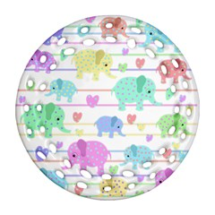 Elephant pastel pattern Round Filigree Ornament (Two Sides)