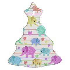 Elephant pastel pattern Christmas Tree Ornament (Two Sides)