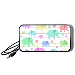 Elephant pastel pattern Portable Speaker (Black)