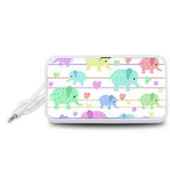 Elephant pastel pattern Portable Speaker (White)