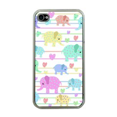 Elephant pastel pattern Apple iPhone 4 Case (Clear)