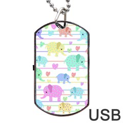 Elephant pastel pattern Dog Tag USB Flash (Two Sides)