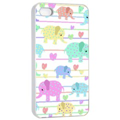 Elephant pastel pattern Apple iPhone 4/4s Seamless Case (White)