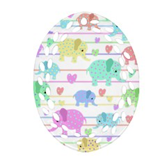 Elephant pastel pattern Oval Filigree Ornament (Two Sides)