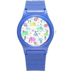 Elephant pastel pattern Round Plastic Sport Watch (S)