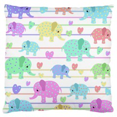 Elephant pastel pattern Large Cushion Case (Two Sides)