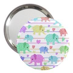 Elephant pastel pattern 3  Handbag Mirrors
