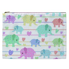 Elephant pastel pattern Cosmetic Bag (XXL)