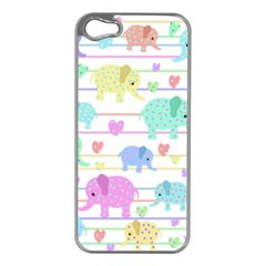 Elephant pastel pattern Apple iPhone 5 Case (Silver)