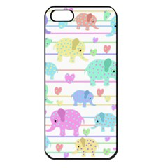 Elephant pastel pattern Apple iPhone 5 Seamless Case (Black)