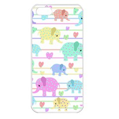 Elephant pastel pattern Apple iPhone 5 Seamless Case (White)