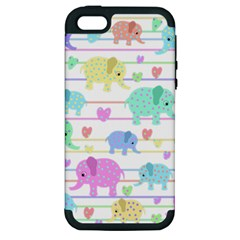 Elephant pastel pattern Apple iPhone 5 Hardshell Case (PC+Silicone)