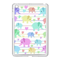 Elephant pastel pattern Apple iPad Mini Case (White)