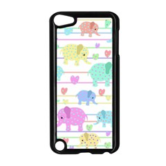 Elephant pastel pattern Apple iPod Touch 5 Case (Black)