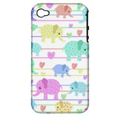 Elephant pastel pattern Apple iPhone 4/4S Hardshell Case (PC+Silicone)