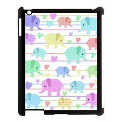 Elephant pastel pattern Apple iPad 3/4 Case (Black)