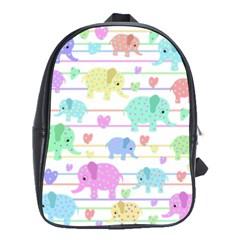 Elephant pastel pattern School Bags (XL)