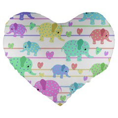 Elephant pastel pattern Large 19  Premium Heart Shape Cushions