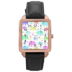 Elephant pastel pattern Rose Gold Leather Watch