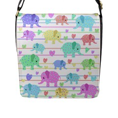 Elephant pastel pattern Flap Messenger Bag (L)