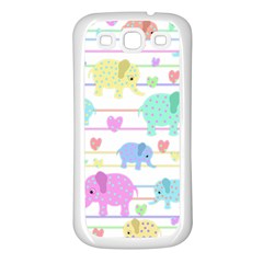 Elephant pastel pattern Samsung Galaxy S3 Back Case (White)