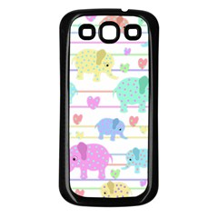 Elephant pastel pattern Samsung Galaxy S3 Back Case (Black)