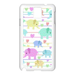 Elephant pastel pattern Samsung Galaxy Note 3 N9005 Case (White)