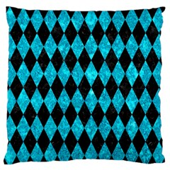 Diamond1 Black Marble & Turquoise Marble Standard Flano Cushion Case (two Sides)