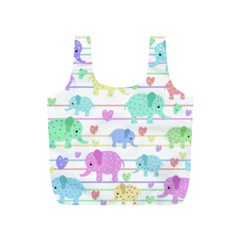 Elephant pastel pattern Full Print Recycle Bags (S)