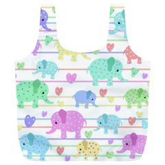 Elephant pastel pattern Full Print Recycle Bags (L)