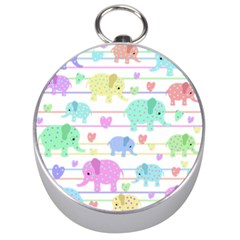 Elephant pastel pattern Silver Compasses