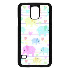 Elephant pastel pattern Samsung Galaxy S5 Case (Black)