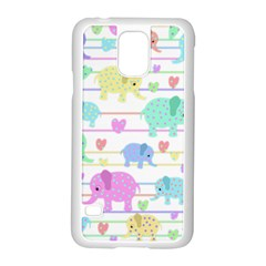 Elephant pastel pattern Samsung Galaxy S5 Case (White)