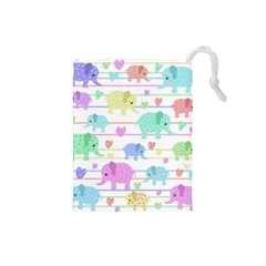Elephant pastel pattern Drawstring Pouches (Small)