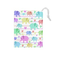 Elephant pastel pattern Drawstring Pouches (Medium)