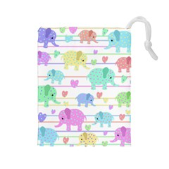 Elephant pastel pattern Drawstring Pouches (Large)