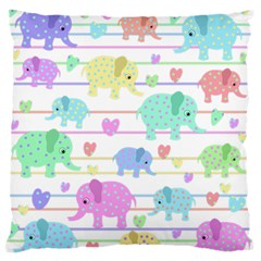 Elephant pastel pattern Large Flano Cushion Case (Two Sides)