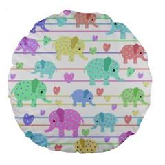 Elephant pastel pattern Large 18  Premium Flano Round Cushions