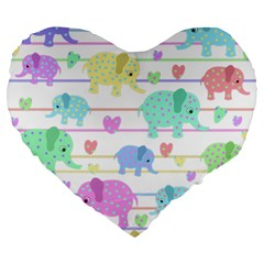 Elephant pastel pattern Large 19  Premium Flano Heart Shape Cushions