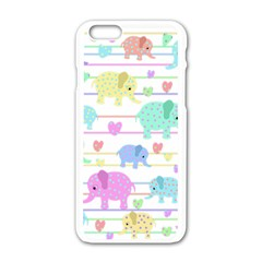 Elephant pastel pattern Apple iPhone 6/6S White Enamel Case