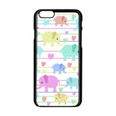 Elephant pastel pattern Apple iPhone 6/6S Black Enamel Case