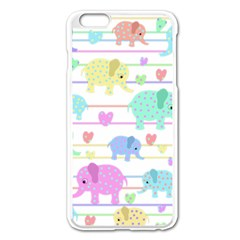 Elephant pastel pattern Apple iPhone 6 Plus/6S Plus Enamel White Case