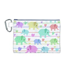 Elephant pastel pattern Canvas Cosmetic Bag (M)