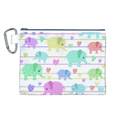 Elephant pastel pattern Canvas Cosmetic Bag (L)
