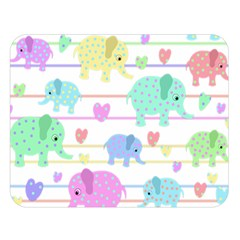 Elephant pastel pattern Double Sided Flano Blanket (Large)