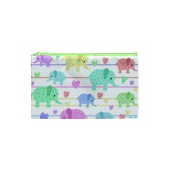 Elephant pastel pattern Cosmetic Bag (XS)
