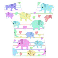 Elephant pastel pattern Women s Cap Sleeve Top